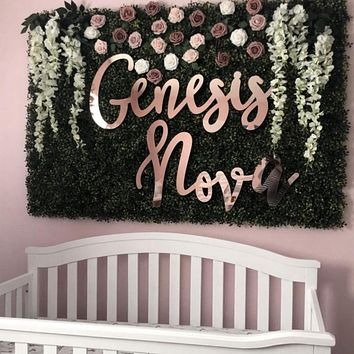 First & Middle Name Backdrop Sign, Acrylic or Wood - 2pc Set