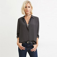 Dark Gray Button Down Long Sleeves Collared Blouse