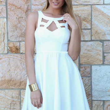 White Butterfly Lace Cut Out Skater Dress