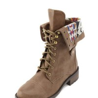 Tribal Print Fold-Over Combat Boot: Charlotte Russe