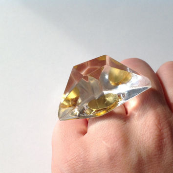 """Trasparent RESIN DIAMOND RING.Chunky statement clear ring. Audacious handmade """"Napoleon's Feluca"""" clear resing ring"""