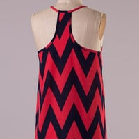 Navy and Red Chevron Racer Back Tank Top