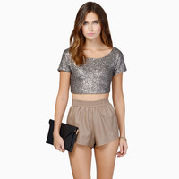 Silver Sequined Short Sleeve Cropped Top