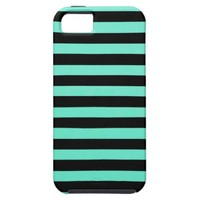 Mint Green And Horizontal Black Stripes iPhone 5 Covers