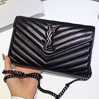 YSL New fashion leather chain shoulder bag crossbody bag Black