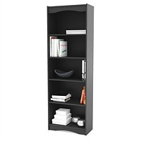 Contemporary Black Bookcase with 5 Shelves & Curved Accents