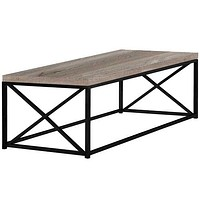 "22"" x 44"" x 17"" Taupe, Black, Particle Board, Metal - Coffee Table"