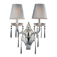 Princess 2 Light Wall Sconce In Polished Silver With Silk String Shades