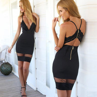 Summer Style Sexy Women Bodycon Dress Vestidos Deep V Neck Crochet Lace Mesh Zipper Back Sleeveless Party Mini Dress Black