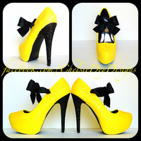 Black n Yellow Glitter High Heels