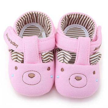 Toddler Baby Girl Boy Teddy Bear Pink Blue Casual Walker Crib Shoes 0-18 Months