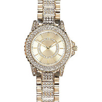 River Island Womens Gold tone gem encrusted watch