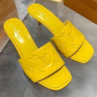 Louis Vuitton LV Hot Sale New Products Embossed Letters Ladies High Heels Sandals Slippers Shoes