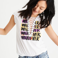 AEO Lace-Up Graphic T-Shirt, White