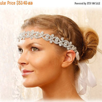 Bridal headband, Bohemian headband, rhinestone headband, Crystal headband, wedding hair accessory, Bridal hair accessory