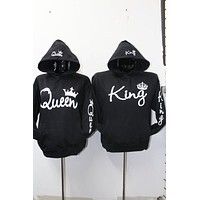 Sudaderas Para Parejas Long Sleeve King Queen Crown Printed Pullover Hoodies Couples Lovers Sweatshirt Men Women Plus Size Hoody