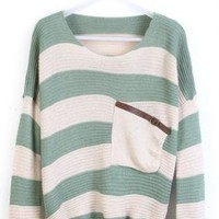 Green White Stripes with Pocket Long Sleeve Sweater