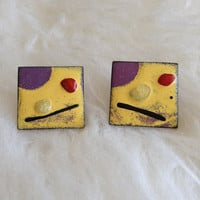 Free US Shipping - Vintage Yellow and Copper Modernist Earrings - Screw Back, Glazed Enamel, Square, Retro, Abstract, 60s, Art, Painted, Mod