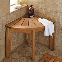 Spa Teak Corner Shower Seat with Basket
