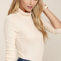 Cozy Den Blush Pink Turtleneck Top