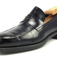 Tod's Mens Shoes Size 6.5, US 7.5 Leather Strap Loafers Black