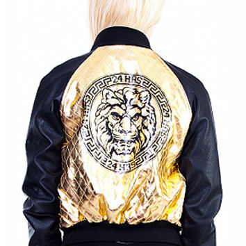 Eye of the Tiger Quilted Jacket w/ Leatherette Sleeves in Black and Gold
