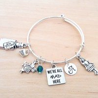Alice in Wonderland Bracelet - We're All Mad Here - Personalized Adjustable Bangle