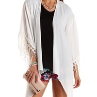 Ivory Crochet-Trim High-Low Kimono by Charlotte Russe