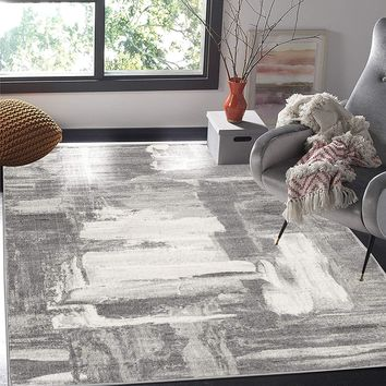 2108 Gray Abstract Contemporary Area Rugs