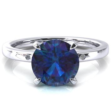 Maise Round Alexandrite 4 Prong Diamond Accent Engagement Ring