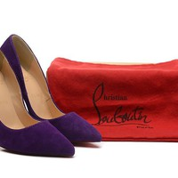 Christian Louboutin Purple Velvet High Heels 100mm