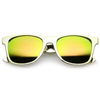 Retro Metallic Square Colored Mirror Lens Horn Rimmed Sunglasses 55mm