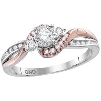 14kt White Rose-tone Gold Womens Round Diamond Solitaire Bridal Wedding Engagement Ring 1/4 Cttw 113766