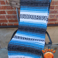 "Vintage Mexican Blanket, Yoga Mat, Multi-Purpose XL blanket 74"" x 58""---Blue and Grey"