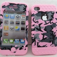 Cell Armor IPHONE4G-RSNAP-TE409 Rocker Snap-On Case for iPhone 4/4S - Retail Packaging - Random Shapes on Pink