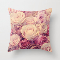 Rose Decorative Throw Pillow Cover, Pink, Paris Decor and Bedding, 16x16, 18x18, 20x20