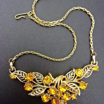 Amber Rhinestone Floral Necklace, Gold Plate Leaves Stems, Vintage
