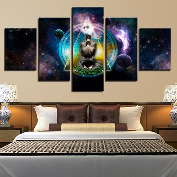 5 Piece OM Yoga Symbol HD Print on Canvas - 8 Size Options