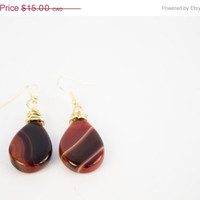 SPRING SALE Banded Agate Bead Raw Brass Earrings