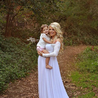 Long sleeve Maternity Gown / Emma Gown  / Maternity gown with sleeves / Sweetheart style gown / Lace maternity gown / Maxi Dress