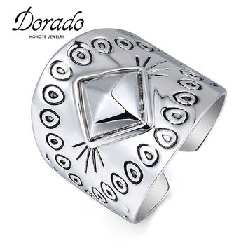 Top Quality Trendy Style Gold/Silver Plated Printing Square Midi Ring Statement Punk Big Finger Ring For Men Women