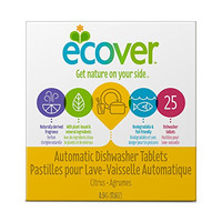 Ecover Natural Plant-based Automatic Dishwasher Tablets, Citrus, 25 Count (Packaging May Vary)