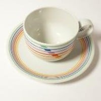 Retro Block China  Harmony CUP and SAUCER Sextet by modernspecific
