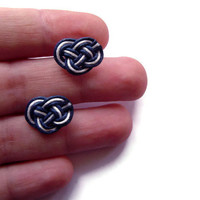 Knot Stud Earrings, Nautical Earrings, Nautical Knot, Celtic Knot Studs, Sailor Knot, Love Knot, White and Navy, Gift for Her