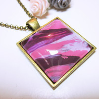 PENDANT Pink Purple Art Pendant Hand Painted Pendant Original Abstract Art Statement Necklace Fashion Necklace Gift Idea For Her JEWELRY