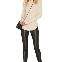 LNA Sloane Rib Long Sleeve Top in Lino | REVOLVE