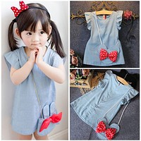 Toddlers Kids Baby Girl Dresses 2016 Clothing Dress Cartoon Mouse Bag Bow Dark Blue Ruffles Demin Casual Dresses Girl 1-5Y