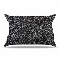"Nl Designs ""Garden Illusion"" Black White Pillow Case"