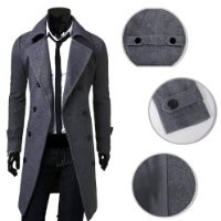 Cocobla Winter Warm Men Slim Trench Double Breasted Overcoat Long Jackets (M, Grey)