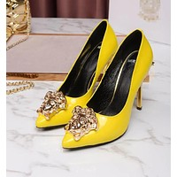 "Hot Sale ""Versace"" Summer New Popular Women Pure Color Smooth Leather Stiletto Heel Pointed High Heels Yellow I13174-41"